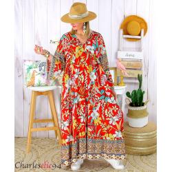 Robe longue maxi été bohème grande taille SUZANE rouge Robe longue grande taille