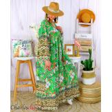 Robe longue maxi été bohème grande taille SUZANE vert Robe longue grande taille