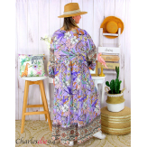 Robe longue maxi été bohème grande taille SUZANE parme Robe longue grande taille