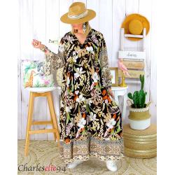 Robe longue maxi été bohème grande taille SUZANE noire Robe longue grande taille