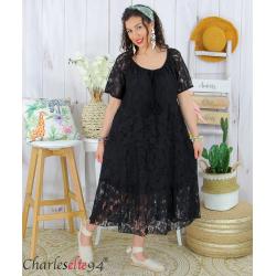 Robe dentelle été bohème grande taille LINETTE noire Robe dentelle femme