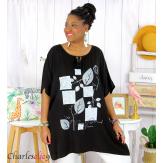 Tunique longue été pompons femme grande taille DAVE noir Tunique femme grande taille
