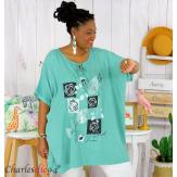 Tunique longue été pompons femme grande taille DAVE vert jade Tunique femme grande taille