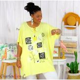 Tunique longue été pompons femme grande taille DAVE jaune Tunique femme grande taille
