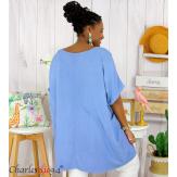 Tunique longue été pompons femme grande taille DAVE bleu jean Tunique femme grande taille