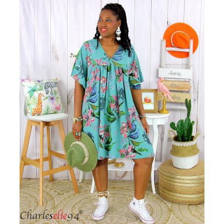 Robe tunique été fleurie grande taille AGAY vert amande Robe tunique femme grande taille