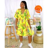 Robe tunique été fleurie grande taille AGAY jaune Robe tunique femme grande taille