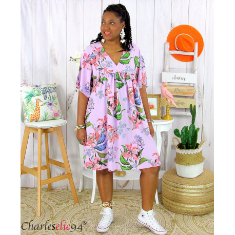 Robe tunique été fleurie grande taille AGAY parme Robe tunique femme grande taille