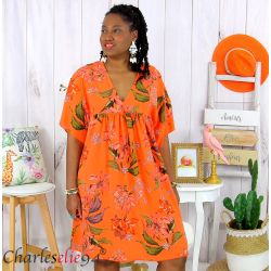 Robe tunique été fleurie grande taille AGAY orange Robe tunique femme grande taille