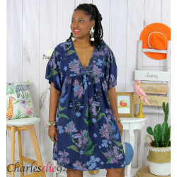 Robe tunique été fleurie grande taille AGAY bleu marine Robe tunique femme grande taille