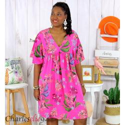 Robe tunique été fleurie grande taille AGAY fushia Robe tunique femme grande taille