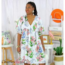 Robe tunique été fleurie grande taille AGAY blanche Robe tunique femme grande taille