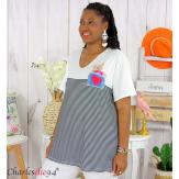 T-shirt marinière été femme grandes tailles VARDA noir blanc Tee shirt tunique femme grande taille