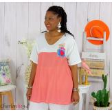 T-shirt marinière été femme grandes tailles VARDA rouge blanc Tee shirt tunique femme grande taille