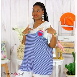 T-shirt marinière été femme grandes tailles VARDA bleu blanc Tee shirt tunique femme grande taille