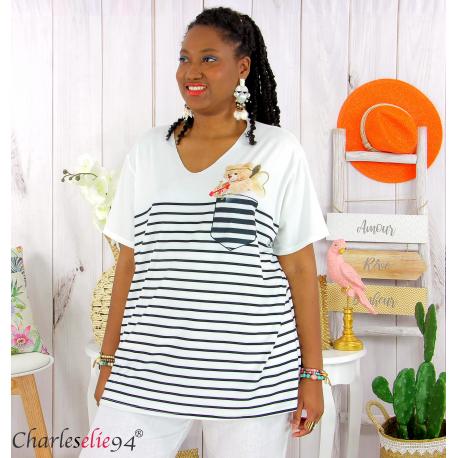 T-shirt marinière été femme grandes tailles REMIX noir blanc Tee shirt tunique femme grande taille