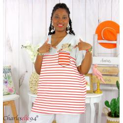 T-shirt marinière été femme grandes tailles REMIX rouge blanc Tee shirt tunique femme grande taille