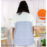 T-shirt marinière été femme grandes tailles REMIX bleu blanc Tee shirt tunique femme grande taille