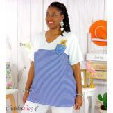 T-shirt marinière été femme grandes tailles MARINA bleu blanc Tee shirt tunique femme grande taille