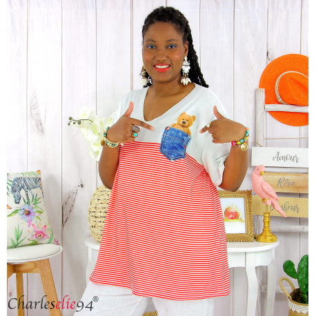 T-shirt marinière été femme grandes tailles MARINA rouge blanc Tee shirt tunique femme grande taille