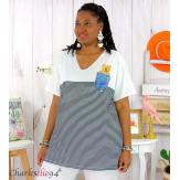 T-shirt marinière été femme grandes tailles MARINA noir blanc Tee shirt tunique femme grande taille