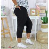 Pantacourt été femme grande taille stretch DUO noir Pantalon femme grande taille
