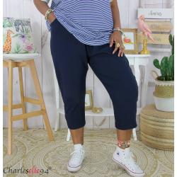 Pantacourt été femme grande taille stretch DUO bleu marine Pantalon femme grande taille