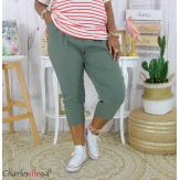 Pantacourt été femme grande taille stretch DUO kaki Pantalon femme grande taille
