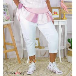 Pantacourt été femme grande taille stretch DUO blanc Pantalon femme grande taille