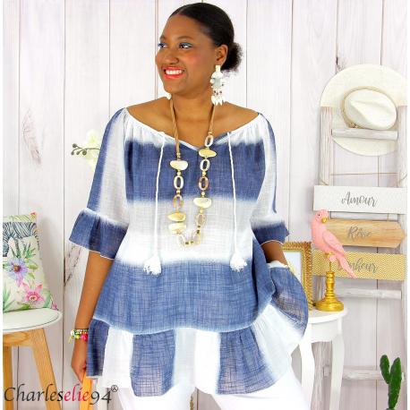Tunique été tie and dye coton grande taille DOVIA blanche Tunique femme grande taille