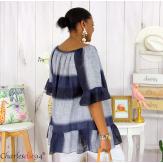 Tunique été tie and dye coton grande taille DOVIA bleu marine Tunique femme grande taille