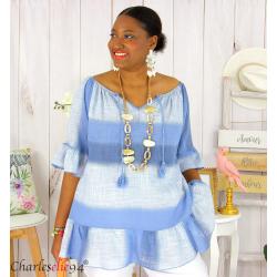 Tunique été tie and dye coton grande taille DOVIA bleu jean Tunique femme grande taille