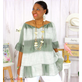 Tunique été tie and dye coton grande taille DOVIA kaki Tunique femme grande taille