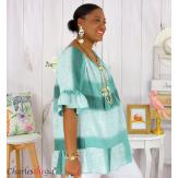 Tunique été tie and dye coton grande taille DOVIA amande Tunique femme grande taille