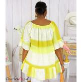 Tunique été tie and dye coton grande taille DOVIA jaune Tunique femme grande taille
