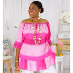 Tunique été tie and dye coton grande taille DOVIA fushia Tunique femme grande taille