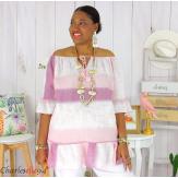 Tunique été tie and dye coton grande taille DOVIA rose Tunique femme grande taille