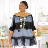 Tunique été tie and dye coton grande taille DOVIA noir Tunique femme grande taille