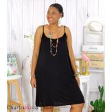 Fond de robe ou nuisette bretelles grandes tailles DESIR noir Robe grande taille