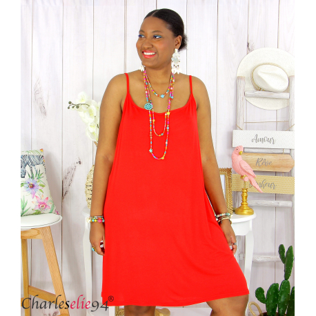 Fond de robe ou nuisette bretelles grandes tailles DESIR rouge Robe grande taille
