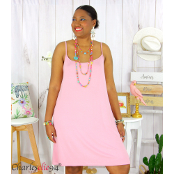 Fond de robe ou nuisette bretelles grandes tailles DESIR rose Robe grande taille