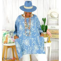 Tunique longue grande taille été PAPYRUS bleu jean Tunique femme