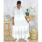 Robe longue maxi dentelle été grande taille ANNIE blanche Robe longue grande taille