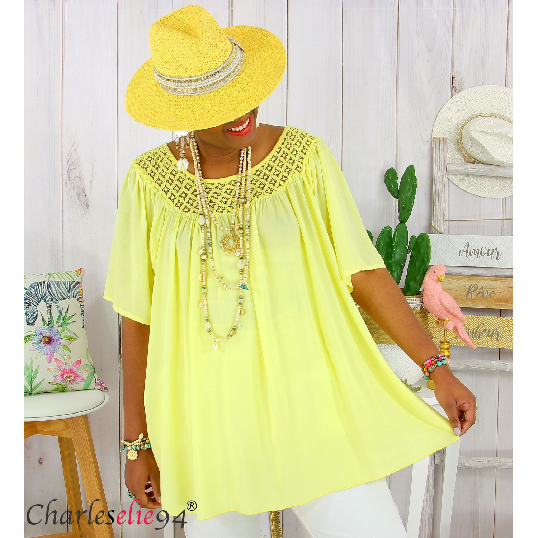 George-Taille 10-Lovely jaune détail dentelle femme top//tunique entièrement neuf sans étiquette