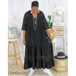 Robe longue maxi dentelle été grande taille ANNIE noire Robe longue grande taille