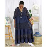 Robe longue maxi dentelle été grande taille ANNIE bleu marine Robe longue grande taille