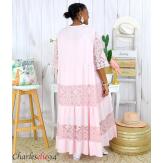 Robe longue maxi dentelle été grande taille ANNIE rose Robe longue grande taille