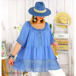 Tunique grande taille été dentelle romantique ZAZOU bleu jean Tunique été femme