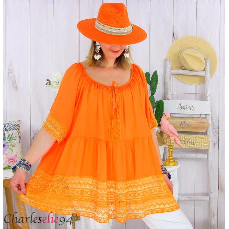 Tunique grande taille été dentelle romantique ZAZOU orange Tunique été femme