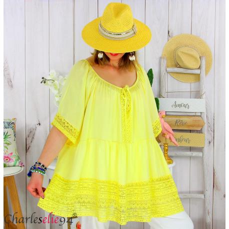 Tunique grande taille été dentelle romantique ZAZOU jaune Tunique été femme
